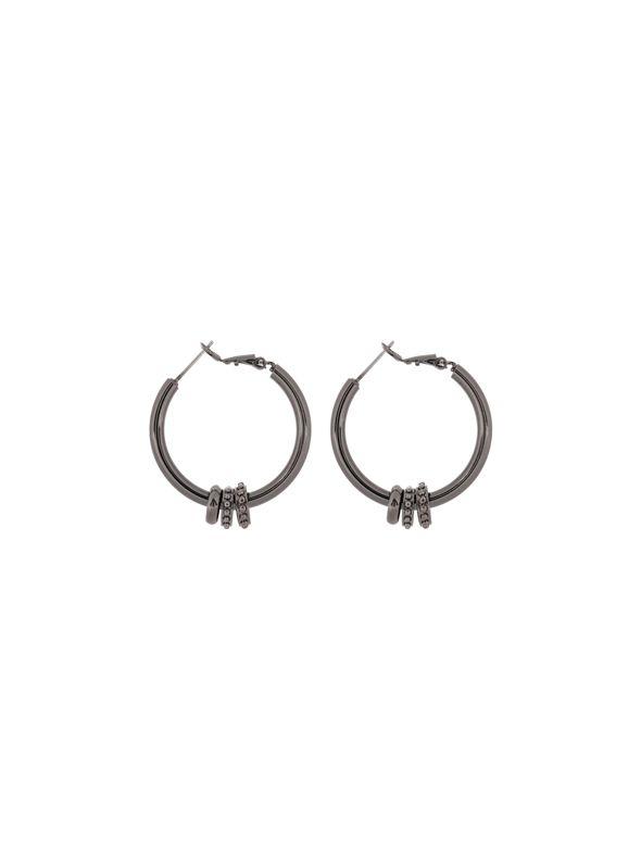 Ella Hoop Hematite Earrings