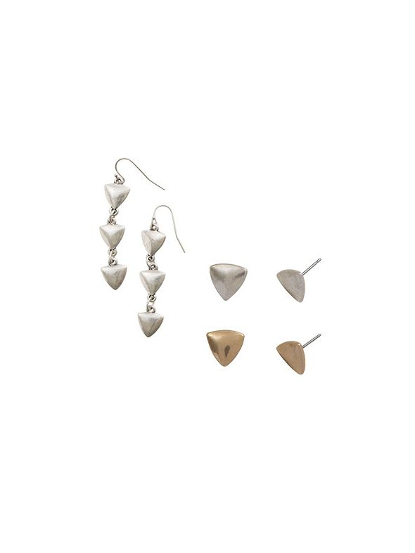 Gold Arrow Earring Set